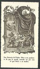 Holy card antique de San Antonio de Padua santino image pieuse estampa