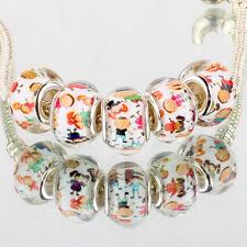 Child 5pcs SILVER MURANO bead LAMPWORK fit European Charm leather Bracelet kids