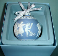 Wedgwood Merry Christmas & Happy New Year Ball Ornament Blue & White New