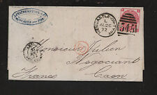 Great Britain 49 pl 8 on letter to France 1872 nice markings Rl0625