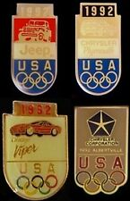 Auto 1992 Olympic Sponsor Pin~Lot of 4~Chrysler~Jeep~Viper~Collection Set~Car