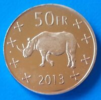 Katanga 50 Francs 2013 UNC Rhinoceros Rhino unusual coinage