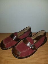 Born Red Suede Brown Leather Loafers Mule Clogs Shoes Womens 8 1/2 /40 M  ~EUC