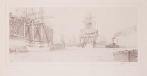 John Stobart Boston Harbor End Paper Drawing