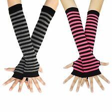 2 pairs Women's Long Fingerless Arm Gloves Striped Winter Mittens Sleeve Warmer