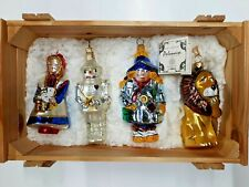 Polonaise Set of 4 Wizard Of Oz Glass Christmas Ornaments in Orig Wood Box