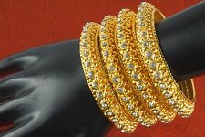 Indian Bollywood Gold Plated CZ Bridal Bangles Bracelet Kada Set Fashion Jewelry