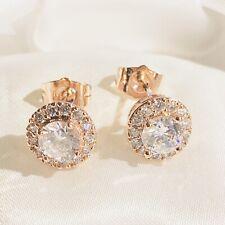 Rose Gold Stud Earrings with Sim Diamond Cluster 9K GF 1cm Diameter PlumUK BOXED