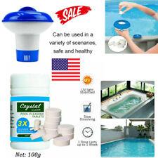 100g Pool tub Cleaning Tablet+Floating Chlorine Chemical Dispenser slow dissolve