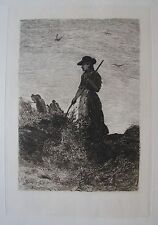 "JOHN WILLIAM BUXTON - KNIGHT BRITISH ETCHING ""THE HAY MAKER"" 1879"