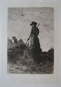 "JOHN WILLIAM BUXTON - KNIGHT BRITISH ETCHING ""THE HAY MAKER"" 1879 A"