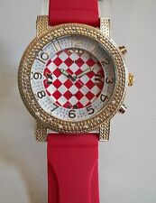 RED/ GOLD FINISH SILICONE BAND HIP HOP FASHION MEN'S WATCH