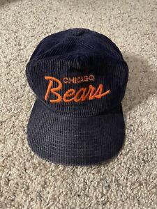 Vintage Chicago Bears Sports Specialties Corduroy Script Snapback Hat Cap 80s