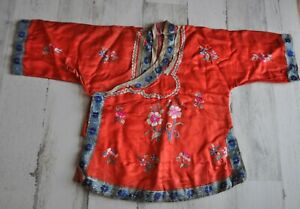 Antique Vintage Red Chinese Silk Child's Robe/Shirt Embroidered Textile SEAL