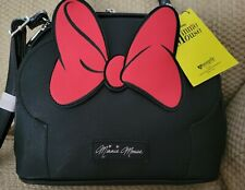 NWT LOUNGEFLY DISNEY MINNIE MOUSE DOMED SATCHEL CROSSBODY BLACK RED BOW RARE