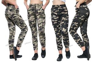 New Ladies Camouflage Cargo Trousers Army Stretch Casual Slim Fit Women Jogger