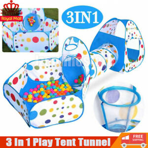 Portable 3 in 1 Children Kids Baby Play Tent Tunnel Ball Pit Playhouse Pop Up UK