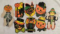 Vintage Beistle Halloween Diecut Accordion Lot Of 8 Witch JOL Owl Scarecrow
