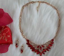 Schmuck Set Silber Gold Rot Halskette Ohrringe Ring Strass Collier Armband.