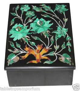 "4""x3""x2"" Black Marble Decorative Jewelry Box Malachite Inlay Collectible Gifts"