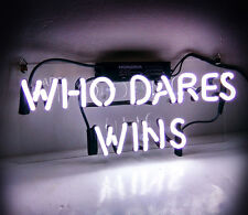 "Tn077 ""Who Dares Wins"" Home Beer Bar Pub Neon Sign Light Party Poster Love Bible"