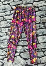Vintage 80s 90s crazy abstract print lycra leggings disco pants S
