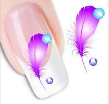 Nail Art Stickers Water Decals Transfers Pink Feathers (XF1223)