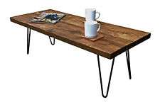 Rustic Coffee Table Metal Hairpin Legs Vintage Mid-Century Reclaimed Timber DARK