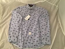 NWT $58 Blue And White Striped Dragon Fly Denim And Flower 100% Cotton Shirt