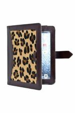 NEW iPAD 2, 3 & 4 BROWN COVER REAL LEATHER WITH LEOPARD PRINT FUR CASE STAND LUX