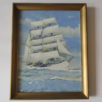 GORDON MACFIE PAINTING THE EAGLE U.S COAST GUARD SHIP BOAT SEASCAPE NAUTICAL VTG