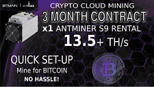3 Month CLOUD MINING Contract Bitmain S9 ANTMINER Rental 13.5 TH BITCOIN Hashing