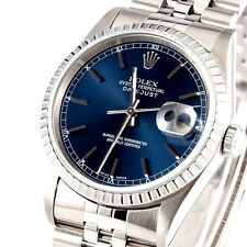 MENS STAINLESS STEEL ROLEX DATEJUST QUICKSET W/ GORGEOUS FACTORY ROLEX BLUE DIAL