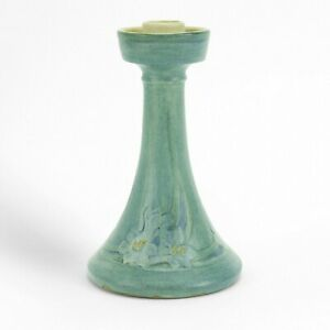 Newcomb College Pottery 1915 floral candlestick matte blue green Arts & Crafts
