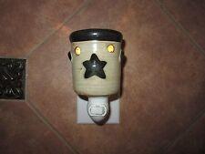 SCENTSY Plug-In Wax Bars Warmer RETIRED Tan Brown Stars Crock with Working Bulb