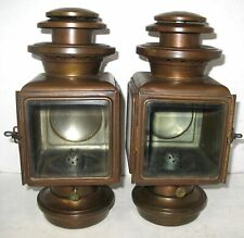 PAIR EARLY MAXWELL SCRIPT MODEL 20 BRASS OIL SIDELAMPS