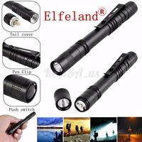 10PCS 50000LM Mini Flashlight LED Penlight Torch Clip Pocket Portable Lamp