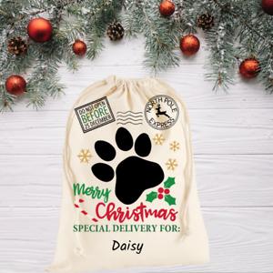 Personalised cotton Santa Sack for your dog - Christmas Gift Bag