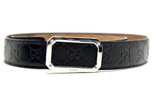 Gucci Authentic Signature Mens Leather Belt Black Rectangular Buckle Size 38