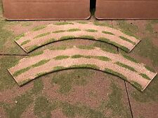 """28mm, 3"""" (rural) Large 1/4 turn road sections,  2pc,  PAINTED"""