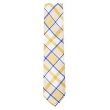 NWT $230 ISAIA 7-Fold Yellow and Blue Check Print Cotton-Silk Tie