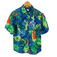 Womens Vintage Pure Silk Blouse Size Small Parrot Tropical Print Short Sleeve