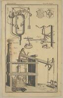 DAMPFMASCHINE Technik  Original Kupferstich um 1790 Maschinenbau Feuer Druckluft