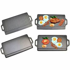 Non-Stick Cast Iron Reversible Griddle Plate Grill Pan Indoor BBQ Hob Cooking