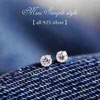 New 925 Silver Classic 4MM Swarovski Crystal Lab Diamond Cutting Stud Earrings