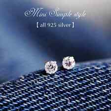New 925 Silver Classic 4MM Swarovski Crystal Lab Diamond Cutting Stud Earrings