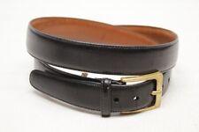 Trafalgar Mens Dress Belt 38 Black Leather Cortina Brass Buckle Made in USA