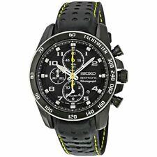 Seiko Sportura Quartz Chronograph Black Dial Leather Strap Men's Watch SNAE67