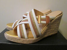 $79 Tommy Hilfiger Parfait Natural Multi Beige Hi Heel Wedge Strappy Sandal 9