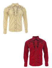 Cowboy Shirt Camisa Vaquera Western Wear El General Long Sleeve Beige-Red